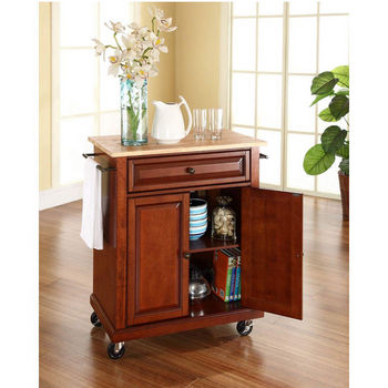 Crosley Furniture Natural Wood Top Portable Kitchen Cart/Island in Classic Cherry Finish
