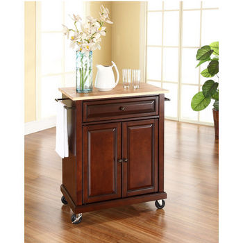 Crosley Furniture Natural Wood Top Portable Kitchen Cart/Island in Vintage Mahogany Finish