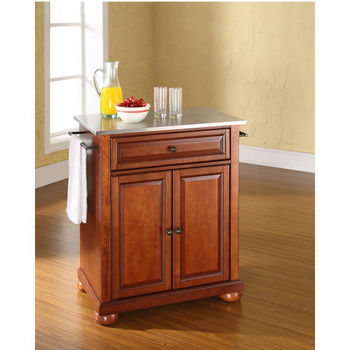 Crosley Furniture Alexandria Stainless Steel Top Portable Kitchen Island in Classic Cherry Finish