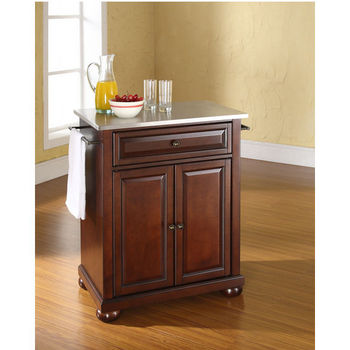 Crosley Furniture Alexandria Stainless Steel Top Portable Kitchen Island in Vintage Mahogany Finish