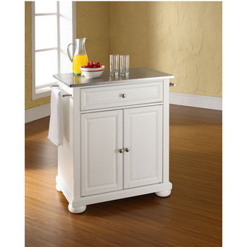Crosley Furniture Alexandria Stainless Steel Top Portable Kitchen Island in White Finish