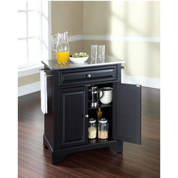 Crosley Furniture LaFayette Stainless Steel Top Portable Kitchen Island in Black Finish