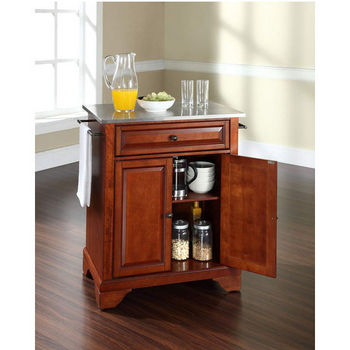 Crosley Furniture LaFayette Stainless Steel Top Portable Kitchen Island in Classic Cherry Finish
