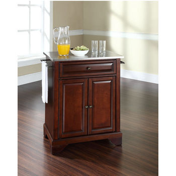 Crosley Furniture LaFayette Stainless Steel Top Portable Kitchen Island in Vintage Mahogany Finish