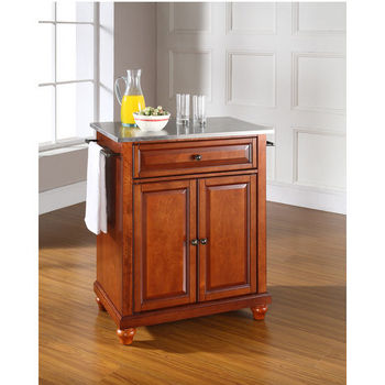 Crosley Furniture Cambridge Stainless Steel Top Portable Kitchen Island in Classic Cherry Finish