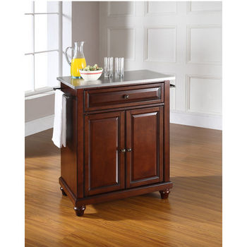 Crosley Furniture Cambridge Stainless Steel Top Portable Kitchen Island in Vintage Mahogany Finish