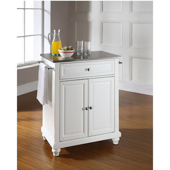 Crosley Furniture Cambridge Stainless Steel Top Portable Kitchen Island in White Finish