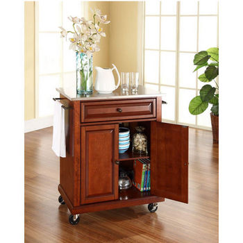 Crosley Furniture Stainless Steel Top Portable Kitchen Cart/Island in Classic Cherry Finish
