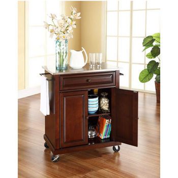 Crosley Furniture Stainless Steel Top Portable Kitchen Cart/Island in Vintage Mahogany Finish