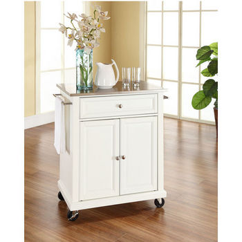 Crosley Furniture Stainless Steel Top Portable Kitchen Cart/Island in White Finish