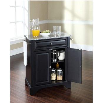 Crosley Furniture LaFayette Solid Granite Top Portable Kitchen Island in Black Finish