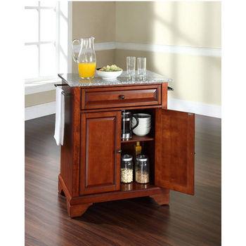 Crosley Furniture LaFayette Solid Granite Top Portable Kitchen Island in Classic Cherry Finish