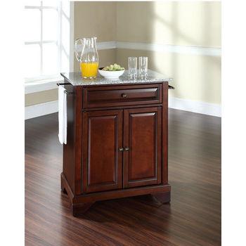 Crosley Furniture LaFayette Solid Granite Top Portable Kitchen Island in Vintage Mahogany Finish