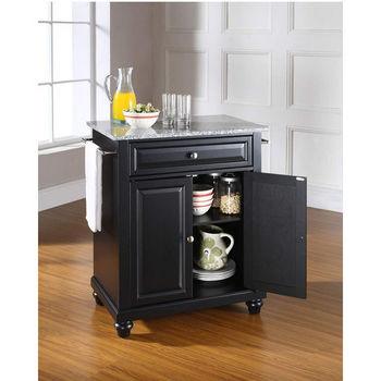 Crosley Furniture Cambridge Solid Granite Top Portable Kitchen Island in Black Finish