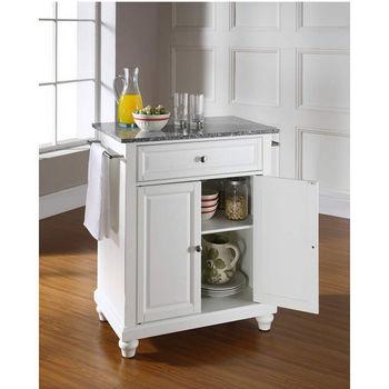 Crosley Furniture Cambridge Solid Granite Top Portable Kitchen Island in White Finish