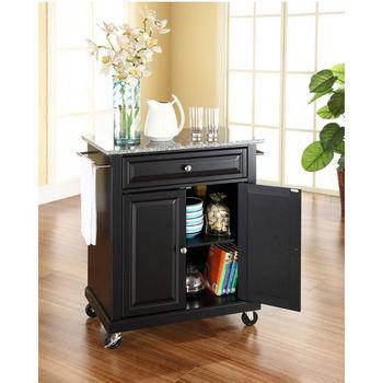 Crosley Furniture Solid Granite Top Portable Kitchen Cart/Island in Black Finish