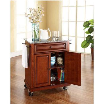 Crosley Furniture Solid Granite Top Portable Kitchen Cart/Island in Classic Cherry Finish