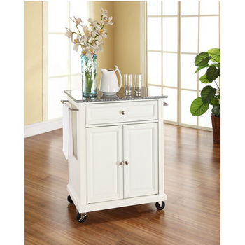 Crosley Furniture Solid Granite Top Portable Kitchen Cart/Island in White Finish