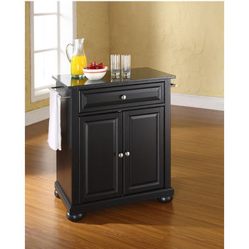 Crosley Furniture Alexandria Solid Black Granite Top Portable Kitchen Island in Black Finish