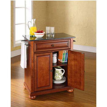 Crosley Furniture Alexandria Solid Black Granite Top Portable Kitchen Island in Classic Cherry Finish