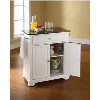 Crosley Furniture Alexandria Solid Black Granite Top Portable Kitchen Island in White Finish