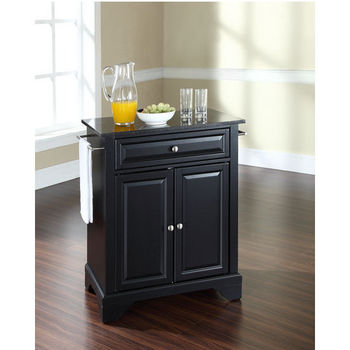 Crosley Furniture LaFayette Solid Black Granite Top Portable Kitchen Island in Black Finish