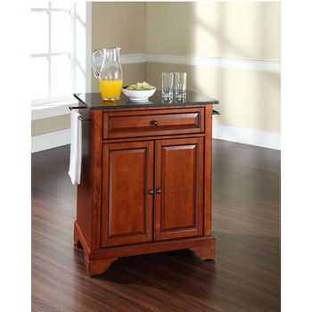 Crosley Furniture LaFayette Solid Black Granite Top Portable Kitchen Island in Classic Cherry Finish