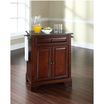 Crosley Furniture LaFayette Solid Black Granite Top Portable Kitchen Island in Vintage Mahogany Finish
