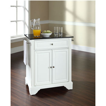 Crosley Furniture LaFayette Solid Black Granite Top Portable Kitchen Island in White Finish