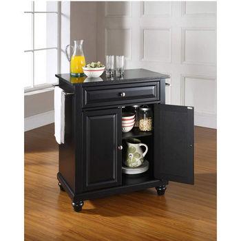 Crosley Furniture Cambridge Solid Black Granite Top Portable Kitchen Island in Black Finish