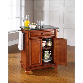 Crosley Furniture Cambridge Solid Black Granite Top Portable Kitchen Island in Classic Cherry Finish