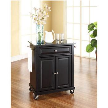 Crosley Furniture Solid Black Granite Top Portable Kitchen Cart/Island in Black Finish