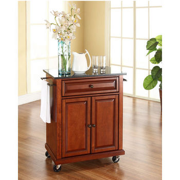 Crosley Furniture Solid Black Granite Top Portable Kitchen Cart/Island in Classic Cherry Finish