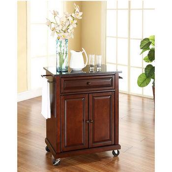 Crosley Furniture Solid Black Granite Top Portable Kitchen Cart/Island in Vintage Mahogany Finish