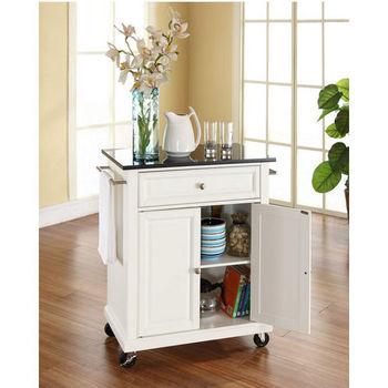 Crosley Furniture Solid Black Granite Top Portable Kitchen Cart/Island in White Finish
