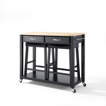 """Crosley Furniture Natural Wood Top Kitchen Cart/Island in Black Finish With 24"""" Black Upholstered Saddle Stools"""