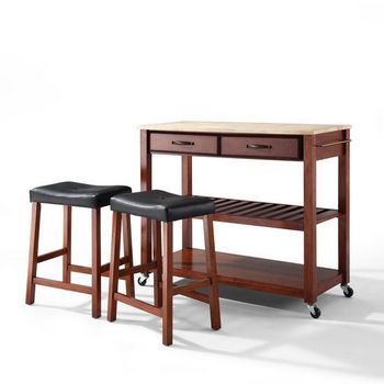 """Crosley Furniture Natural Wood Top Kitchen Cart/Island in Classic Cherry Finish With 24"""" Cherry Upholstered Saddle Stools"""
