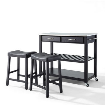 "Crosley Furniture Stainless Steel Top Kitchen Cart/Island in Black Finish With 24"" Black Upholstered Saddle Stools"