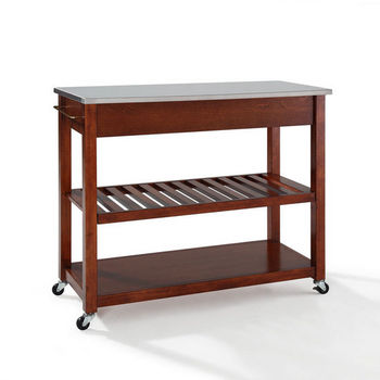 Crosley Furniture Stainless Steel Top Kitchen Cart/Island With Optional Stool Storage in Classic Cherry Finish