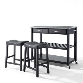 "Crosley Furniture Solid Granite Top Kitchen Cart/Island in Black Finish With 24"" Black Upholstered Saddle Stools"