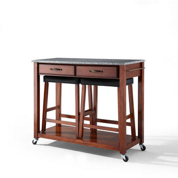 """Crosley Furniture Solid Granite Top Kitchen Cart/Island in Classic Cherry Finish With 24"""" Cherry Upholstered Saddle Stools"""