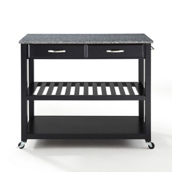 Crosley Furniture Solid Granite Top Kitchen Cart/Island With Optional Stool Storage in Black Finish