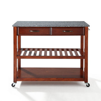 Crosley Furniture Solid Granite Top Kitchen Cart/Island With Optional Stool Storage in Classic Cherry Finish