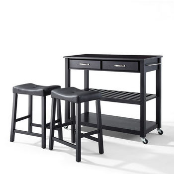 "Crosley Furniture Solid Black Granite Top Kitchen Cart/Island in Black Finish With 24"" Black Upholstered Saddle Stools"