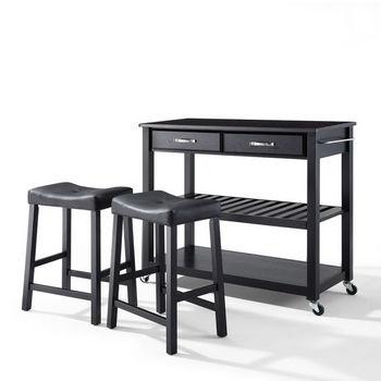 "Crosley Furniture Solid Black Granite Top Kitchen Cart/Island in Black Finish With 24"" Black Upholstered Saddle Stools"