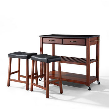 """Crosley Furniture Solid Black Granite Top Kitchen Cart/Island in Classic Cherry Finish With 24"""" Cherry Upholstered Saddle Stools"""