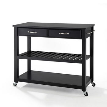 Crosley Furniture Solid Black Granite Top Kitchen Cart/Island With Optional Stool Storage in Black Finish