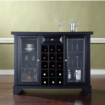Crosley Furniture LaFayette Sliding Top Bar Cabinet in Black Finish