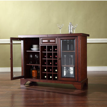 Crosley Furniture LaFayette Sliding Top Bar Cabinet in Vintage Mahogany Finish