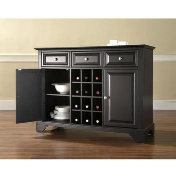 Crosley Furniture Lafayette Buffet Server Sideboard Cabinet With Wine Storage In Black Finish